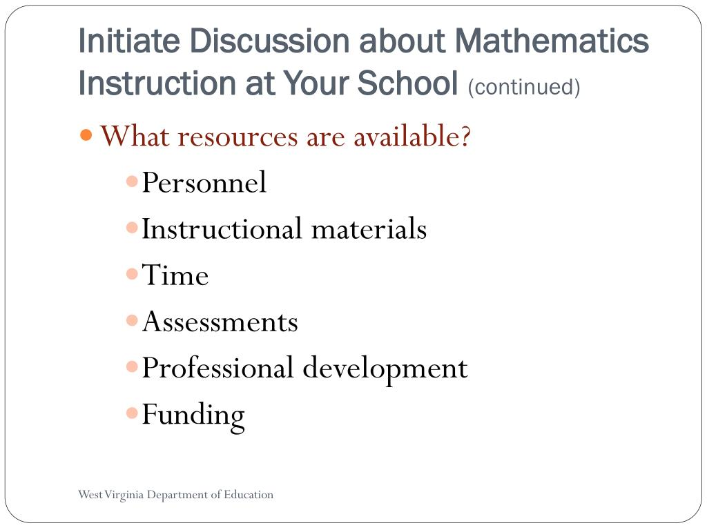 Initiate Discussion about Mathematics Instruction at Your School