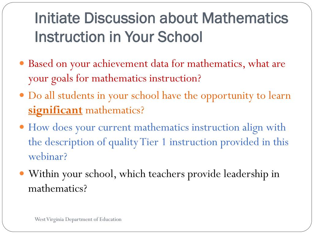 Initiate Discussion about Mathematics Instruction in Your School