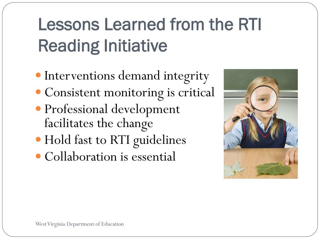 Lessons Learned from the RTI Reading Initiative