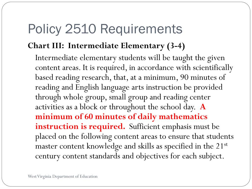 Policy 2510 Requirements