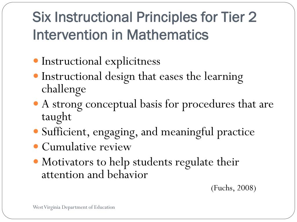 Six Instructional Principles for Tier 2 Intervention in Mathematics