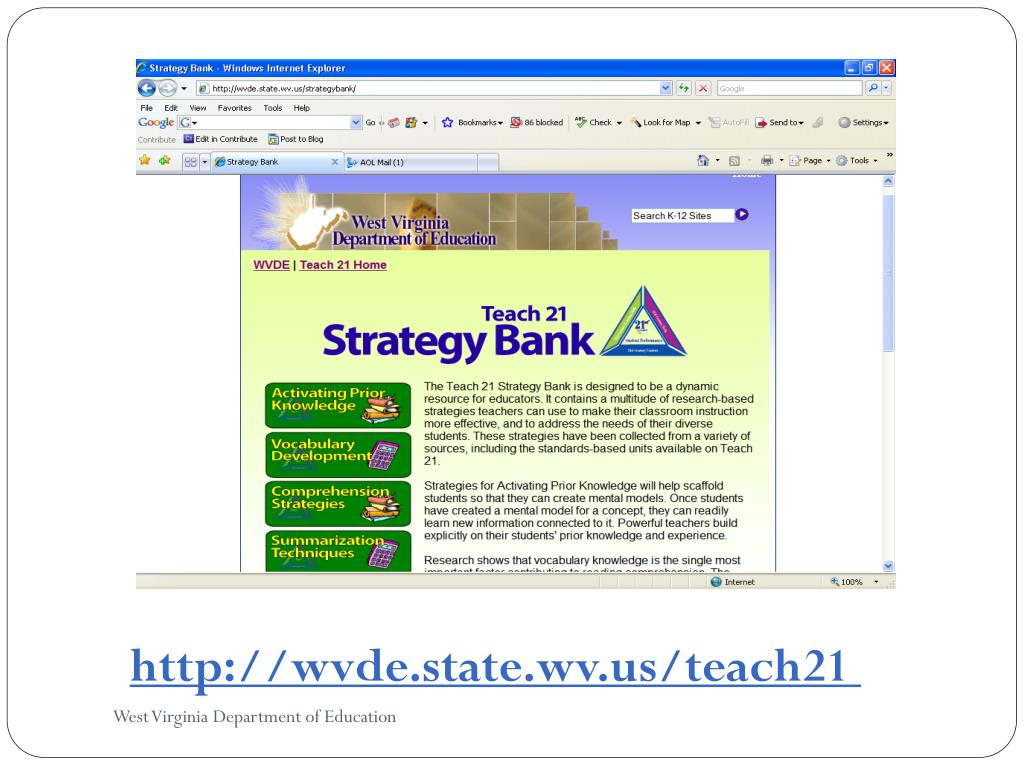 http://wvde.state.wv.us/teach21