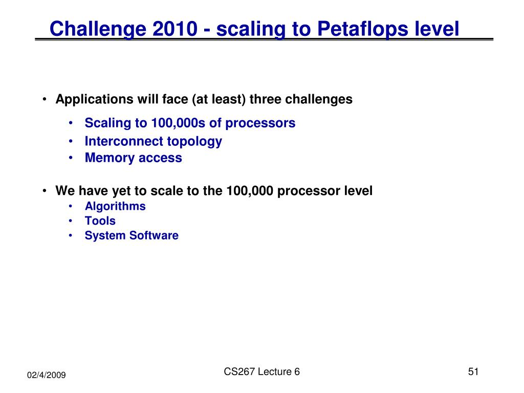 Challenge 2010 - scaling to Petaflops level