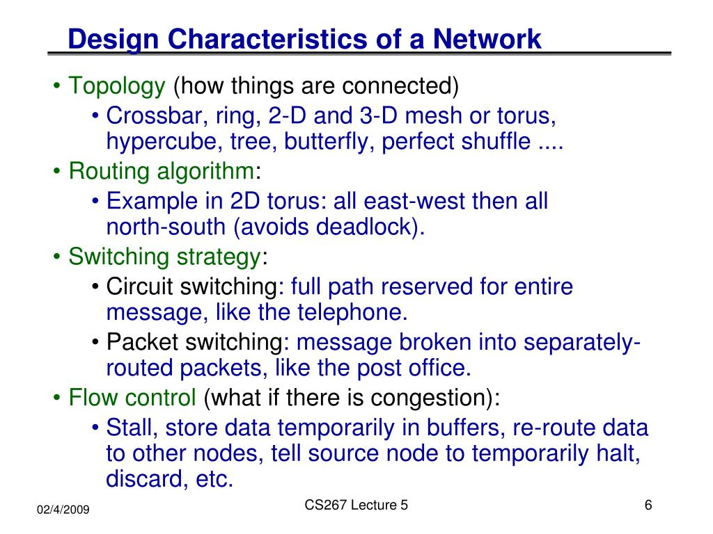 Design Characteristics of a Network