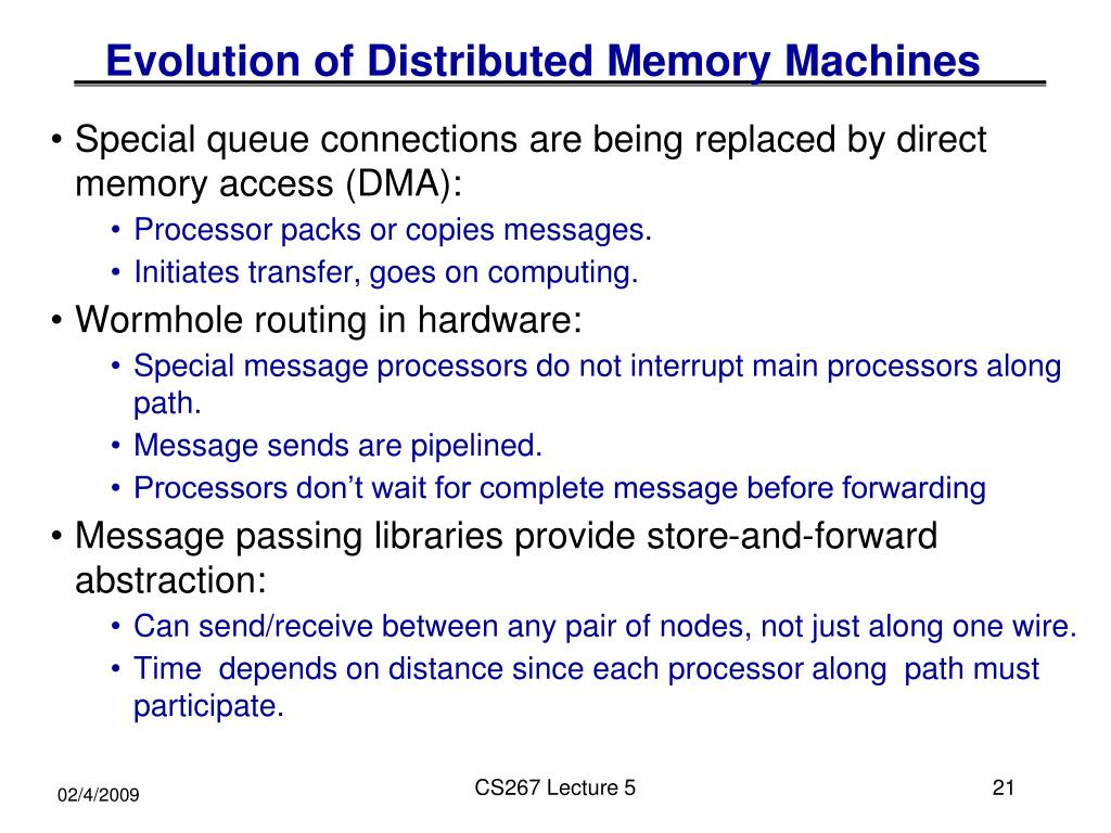 Evolution of Distributed Memory Machines