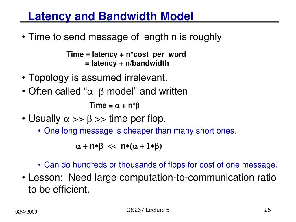 Latency and Bandwidth Model