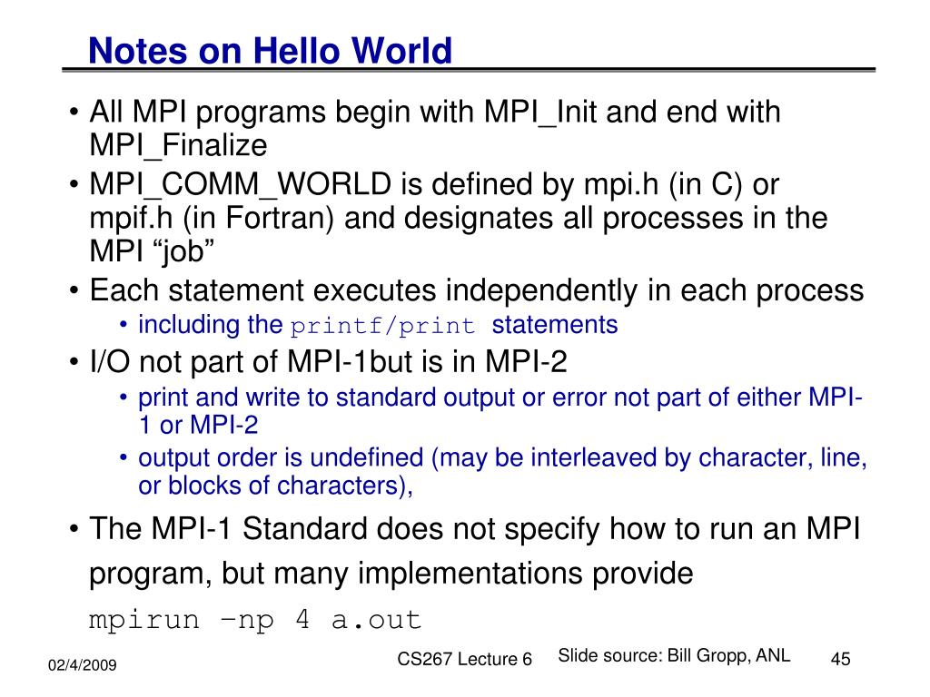 Notes on Hello World