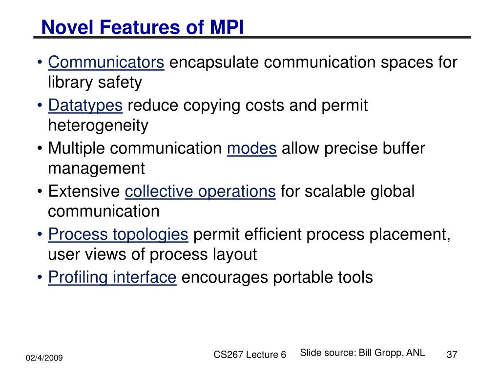 Novel Features of MPI