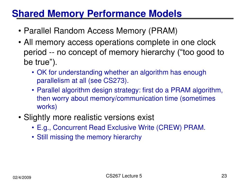 Shared Memory Performance Models