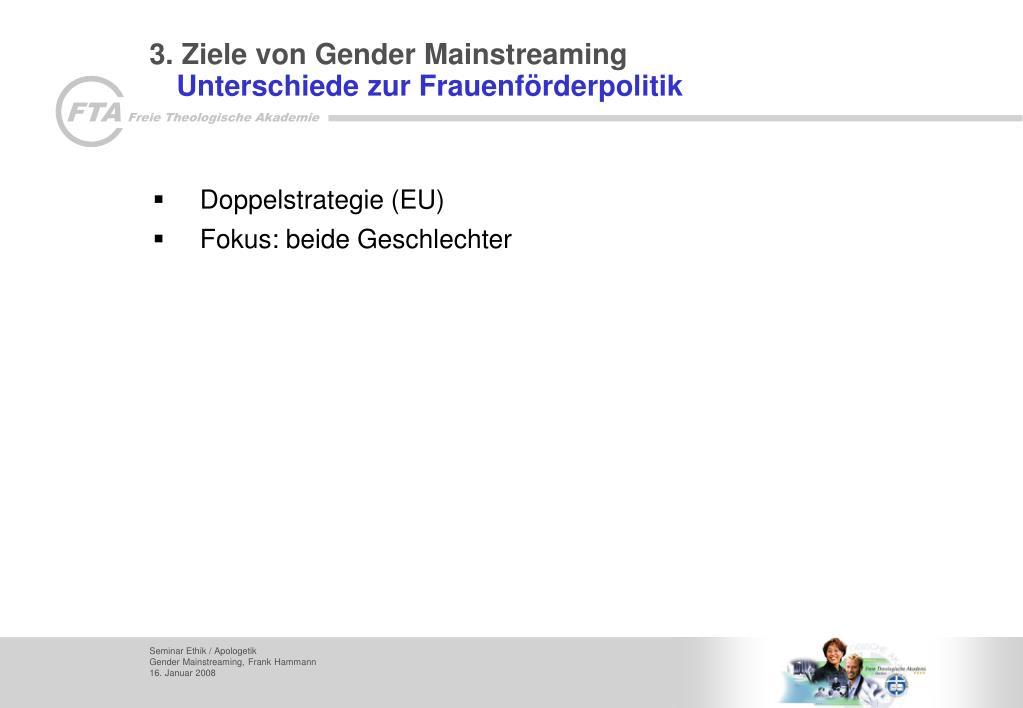 3. Ziele von Gender Mainstreaming