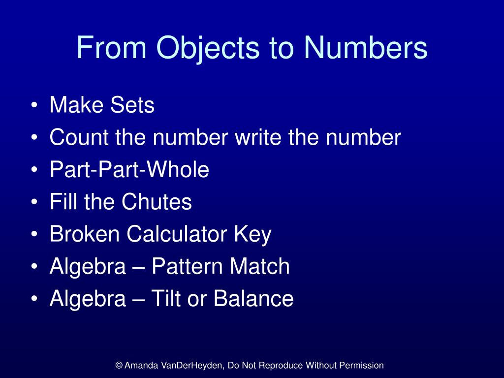 From Objects to Numbers
