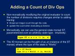 adding a count of div ops