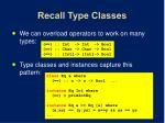 recall type classes