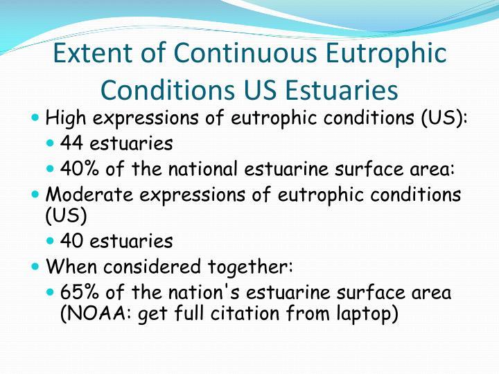 Extent of continuous eutrophic conditions us estuaries