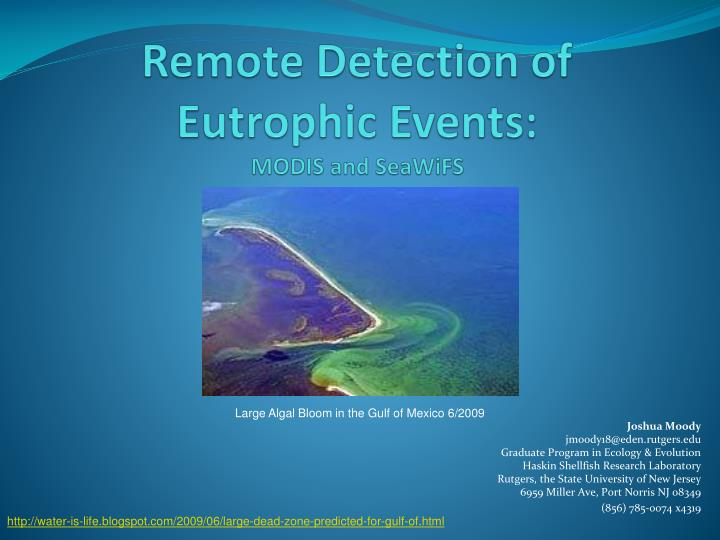 Remote detection of eutrophic events modis and seawifs