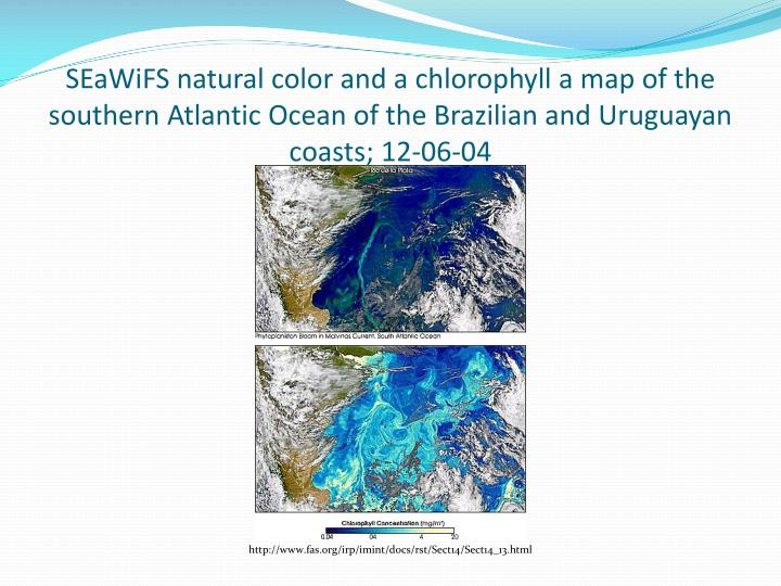 SEaWiFS natural color and a chlorophyll a map of the southern Atlantic Ocean of the Brazilian and Uruguayan coasts; 12-06-04