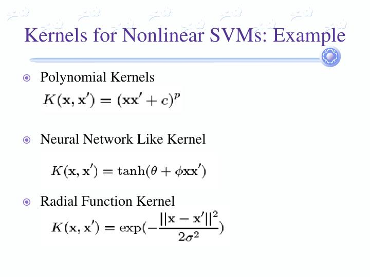 Kernels for Nonlinear SVMs: Example