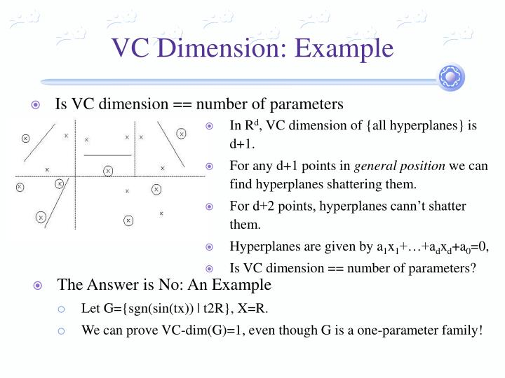 VC Dimension: Example