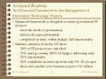 assigned reading an enhanced framework for the management of information technology projects