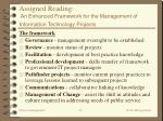 assigned reading an enhanced framework for the management of information technology projects32