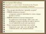 assigned reading chapters 1 2 and 3 from a guide to the project management body of knowledge pmbok