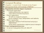 assigned reading chapters 1 2 and 3 from a guide to the project management body of knowledge pmbok36