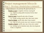 project management lifecycle step 2 develop a detailed plan continued16