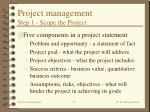 project management step 1 scope the project