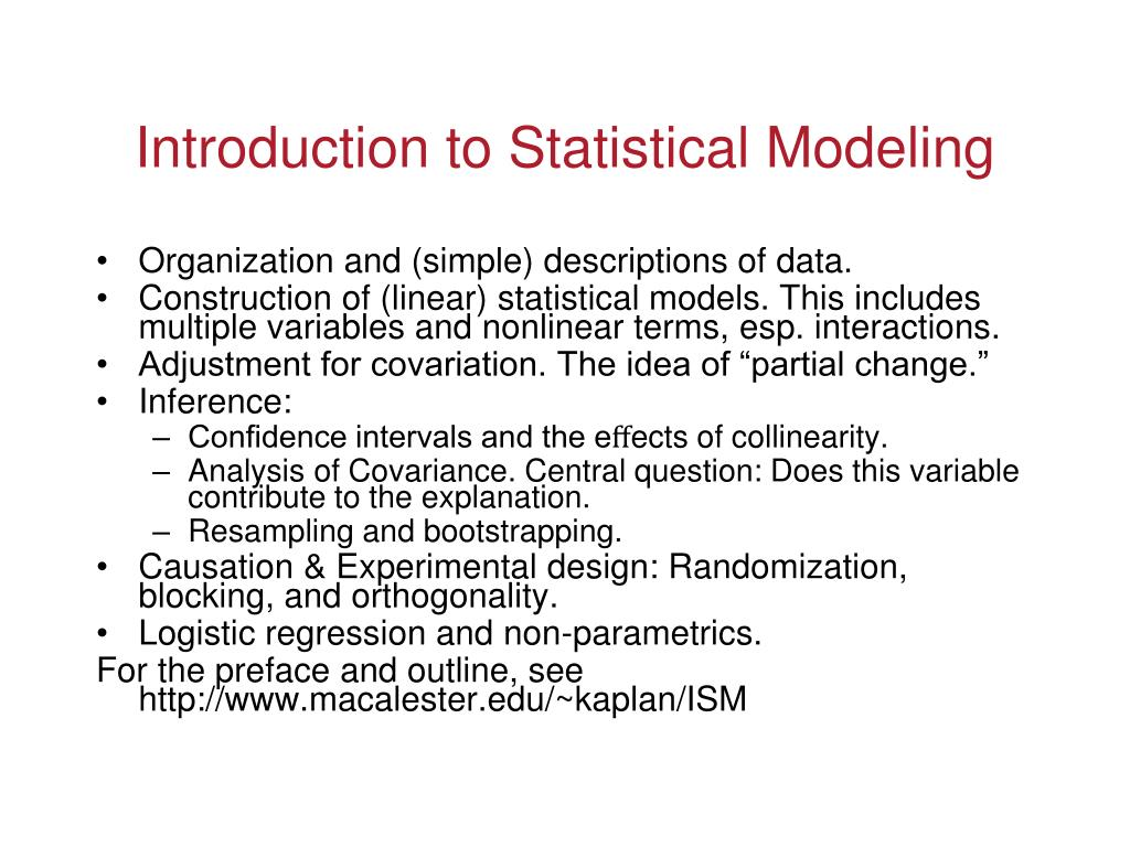Introduction to Statistical Modeling