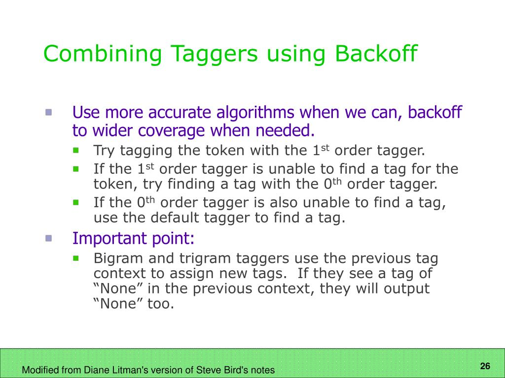 Combining Taggers using Backoff