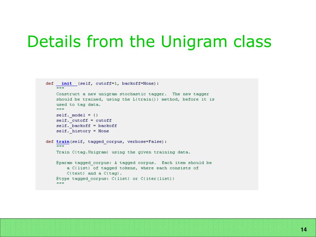 Details from the Unigram class