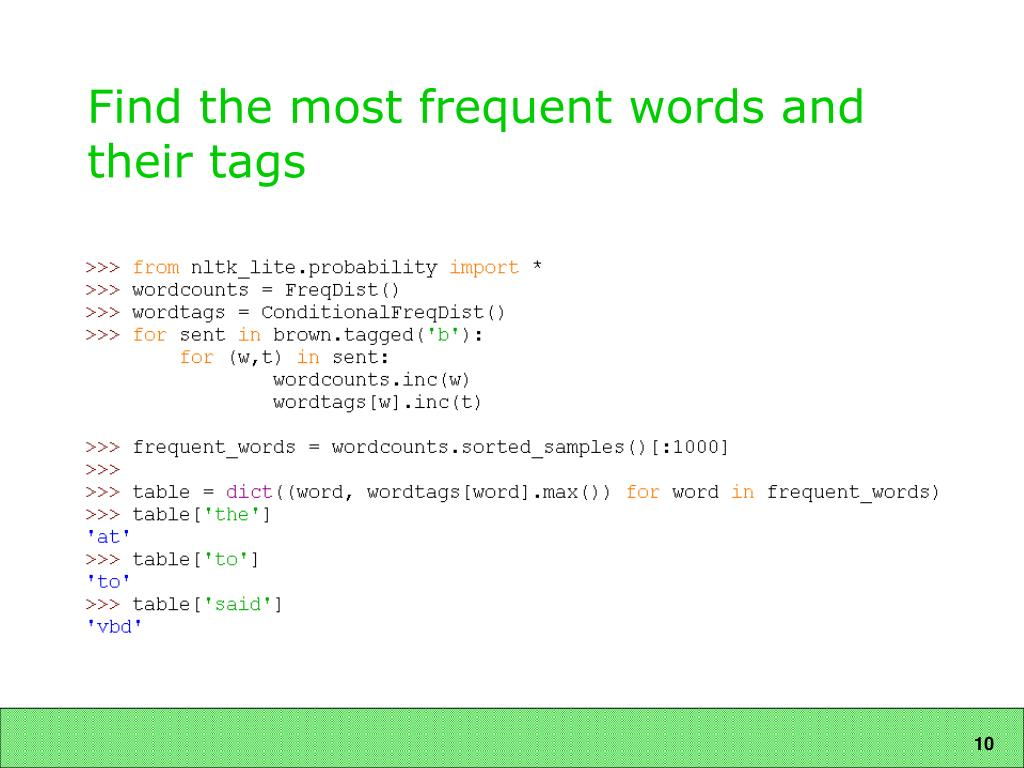 Find the most frequent words and their tags