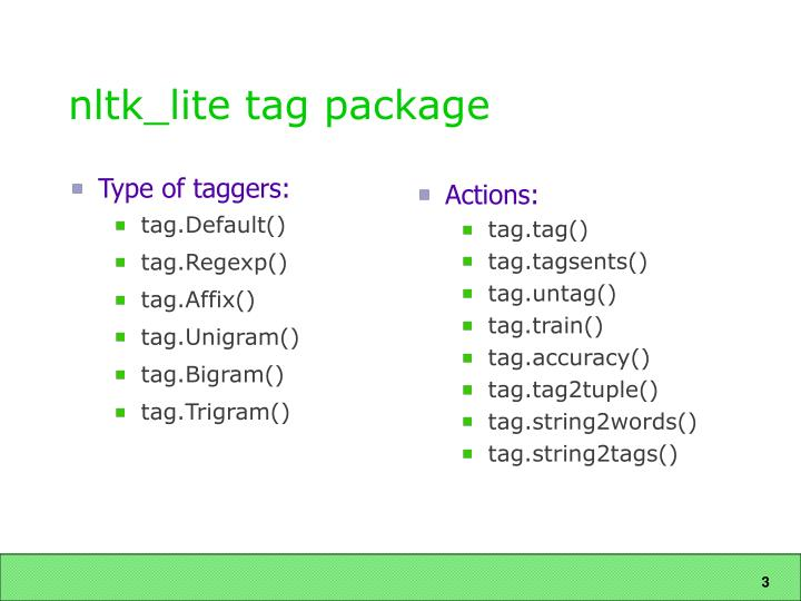 Nltk lite tag package
