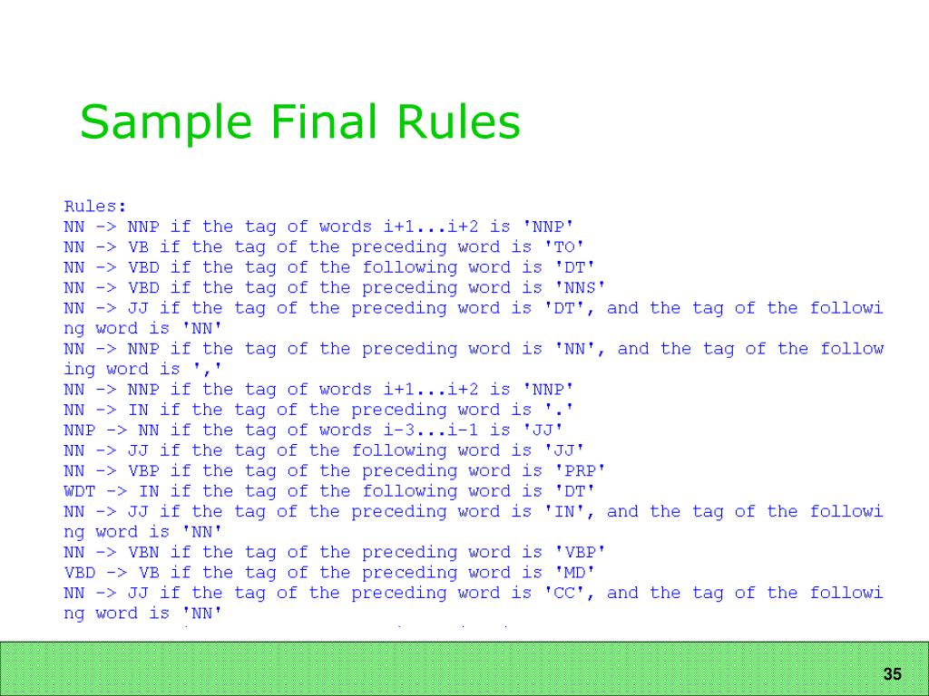 Sample Final Rules