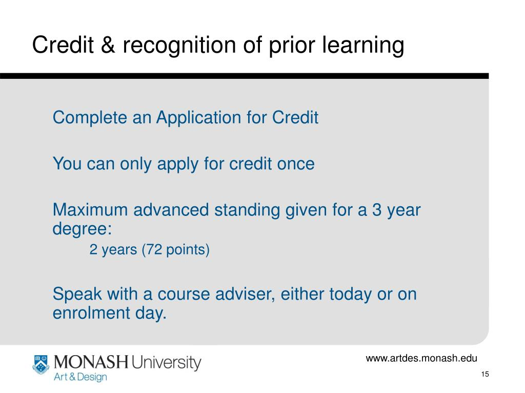 Credit & recognition of prior learning
