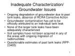 inadequate characterization groundwater issues