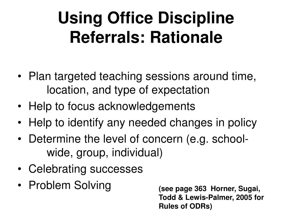 Using Office Discipline Referrals: Rationale