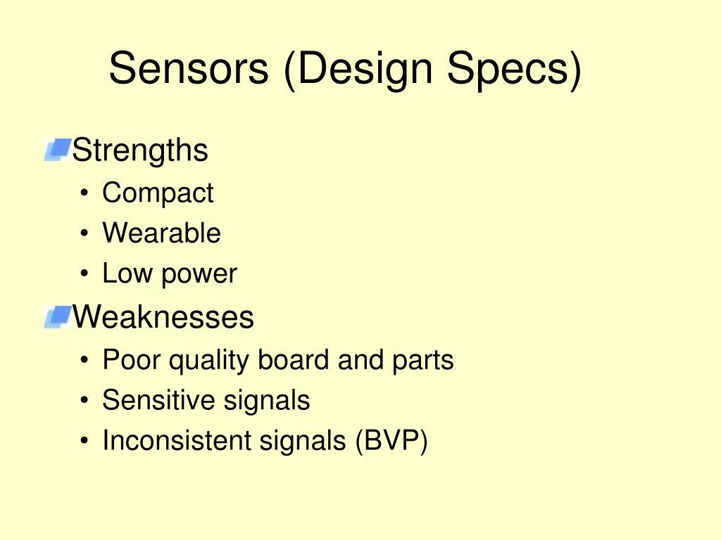 Sensors (Design Specs)