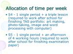 allocation of time per week