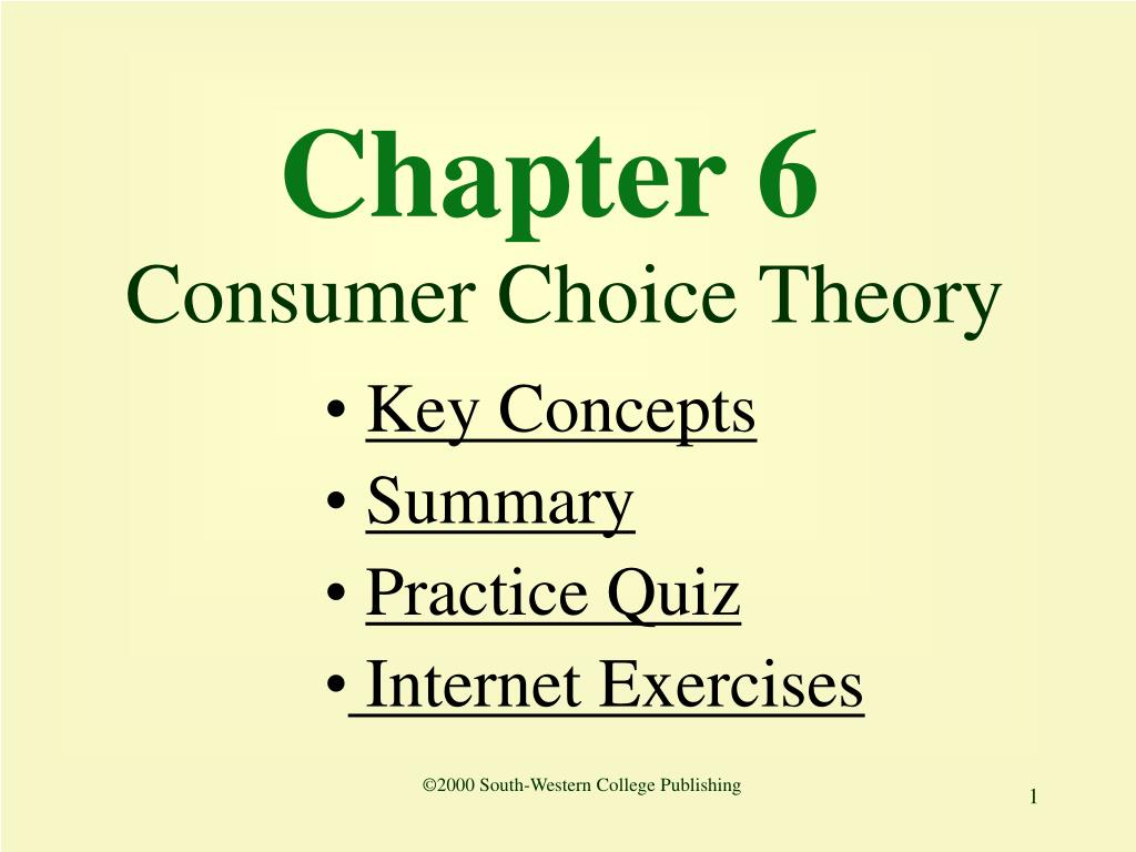 chapter 6 consumer choice theory l.