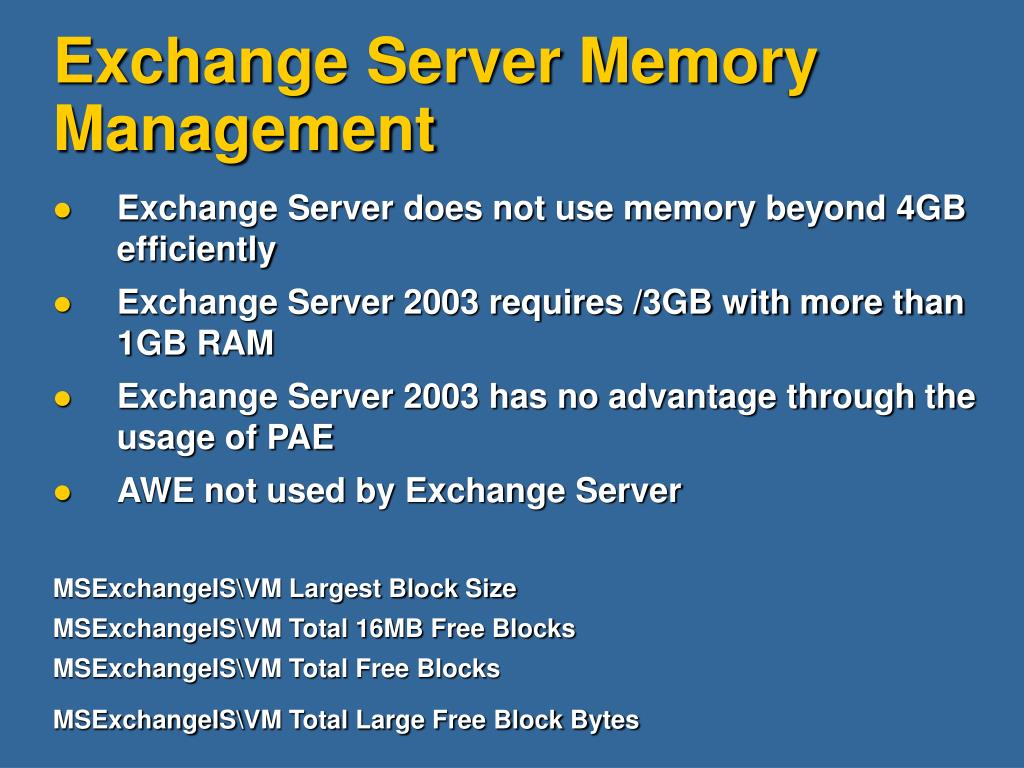 Exchange Server Memory Management