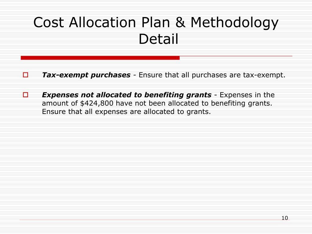 Cost Allocation Plan & Methodology