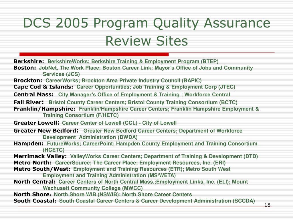 DCS 2005 Program Quality Assurance Review Sites