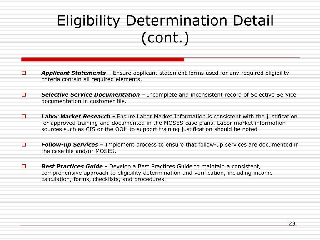 Eligibility Determination Detail (cont.)