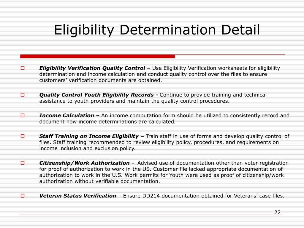 Eligibility Determination Detail