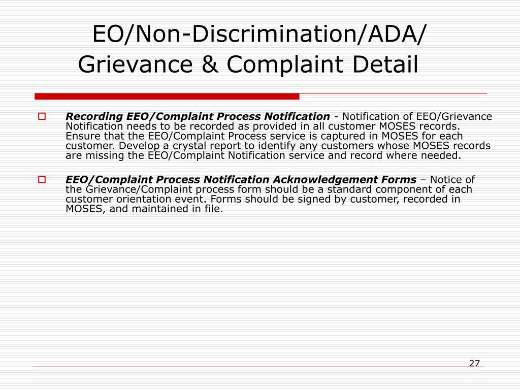 Recording EEO/Complaint Process Notification
