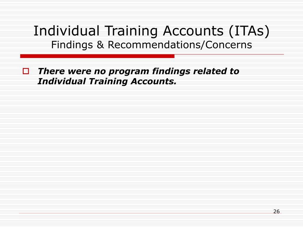 Individual Training Accounts (ITAs)