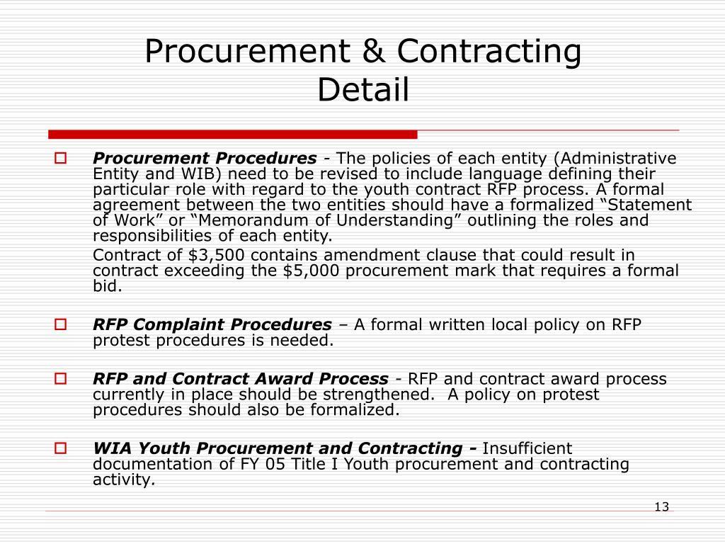 Procurement Procedures