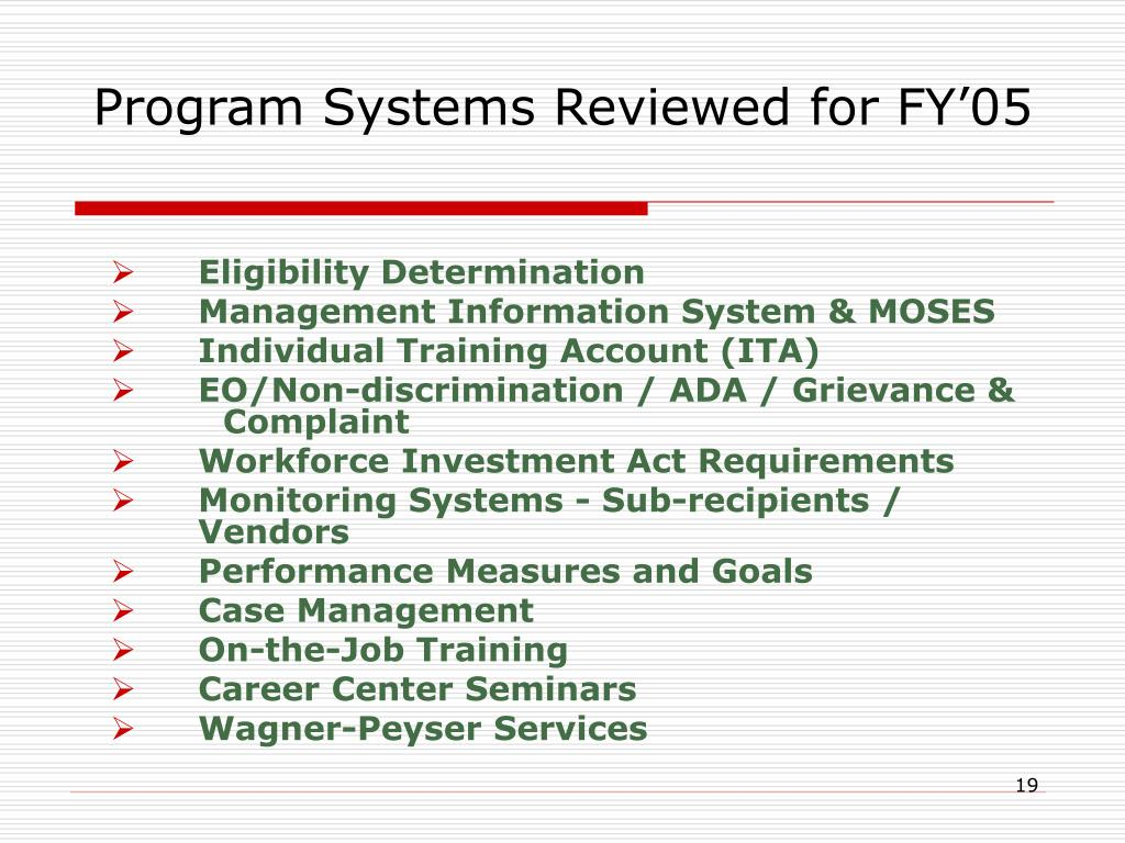 Program Systems Reviewed for FY'05