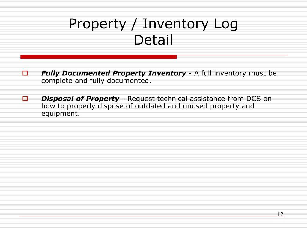Property / Inventory Log